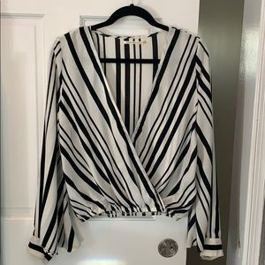 Mustard Seed Black white stripped shirt small